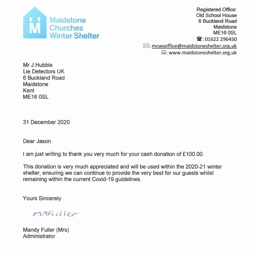 Decembers Charity Donation to the Maidstone Winter Shelter for the Homeless Lie Detectors UK